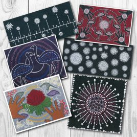Card Set (Dark) by Karen Maber. Aboriginal artworks on six different cards.